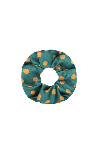 SATIN GREEN DOTS SCRUNCHIE