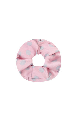 SATIN PINK DOTS SCRUNCHIE