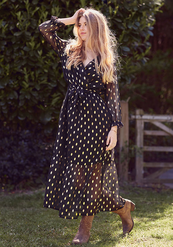 JILL DOTTED MAXI DRESS
