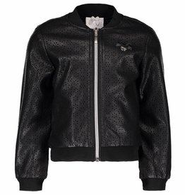 Le Chic Bomber Cut-Out Flower Leather