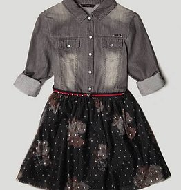 Guess DENIM DRESS WITH FLORAL SKIRT