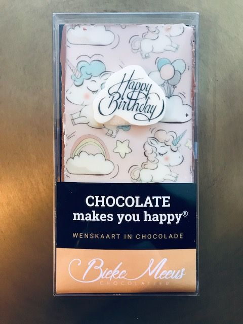 Bieke Meeuws Chocolade wenskaart Happy Birthday