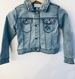 Le Chic Denim Jacket Pearls