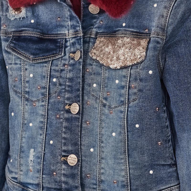 Mayoral Denim Jacket Fur