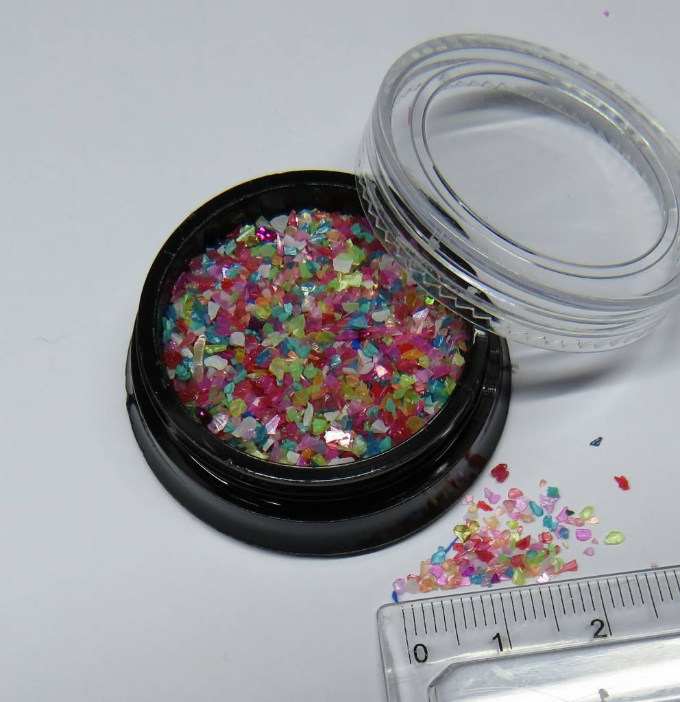 Mini-Muschelsplitter. 2g. Natur/Farbig