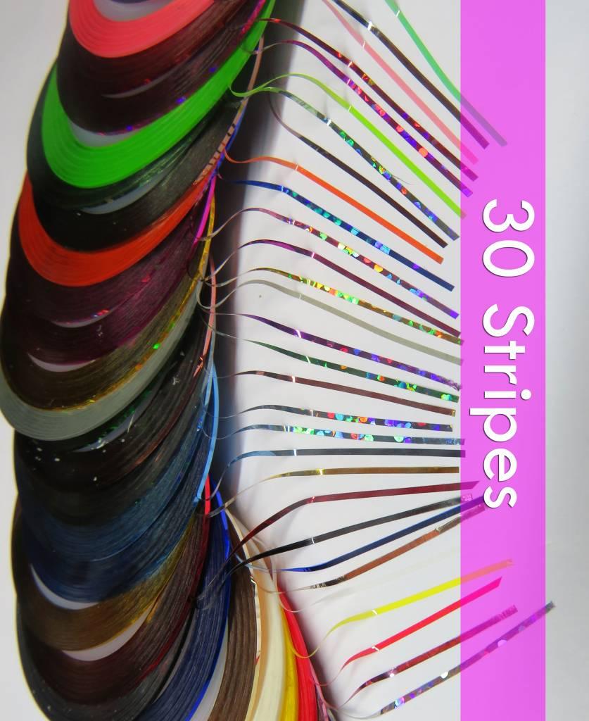 30 x NailArt Stripe in 30 Farben. ca. 1mm