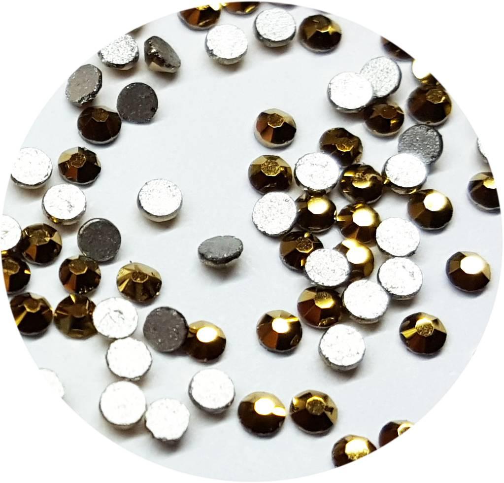 Gold Glas-Kristall SS4. 100 Stk.
