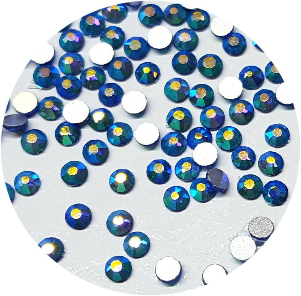 Türkis-Regenbogen Glas-Kristall SS4. 100 Stk.