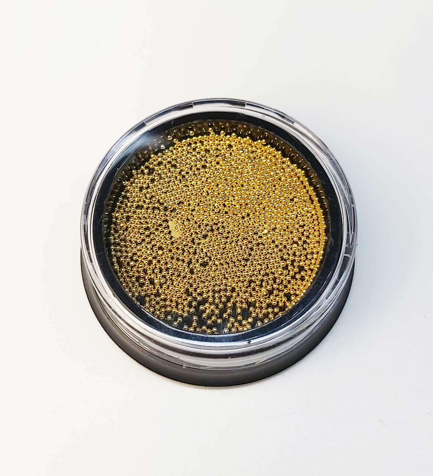 Gold. Mikroperlen 0,6mm. Edelstahl