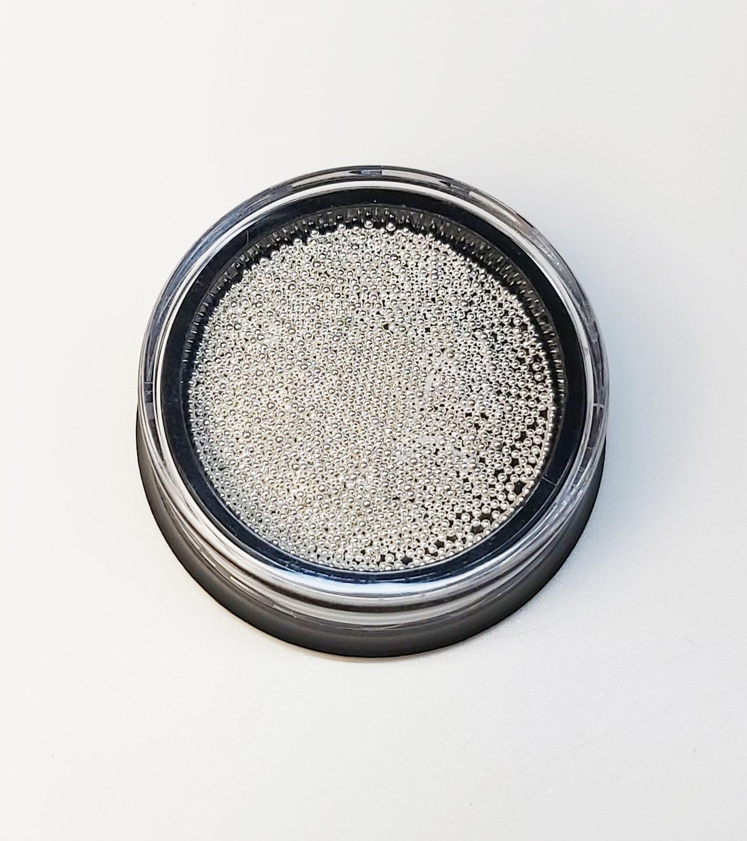Silber. Mikroperlen 0,6mm. Edelstahl