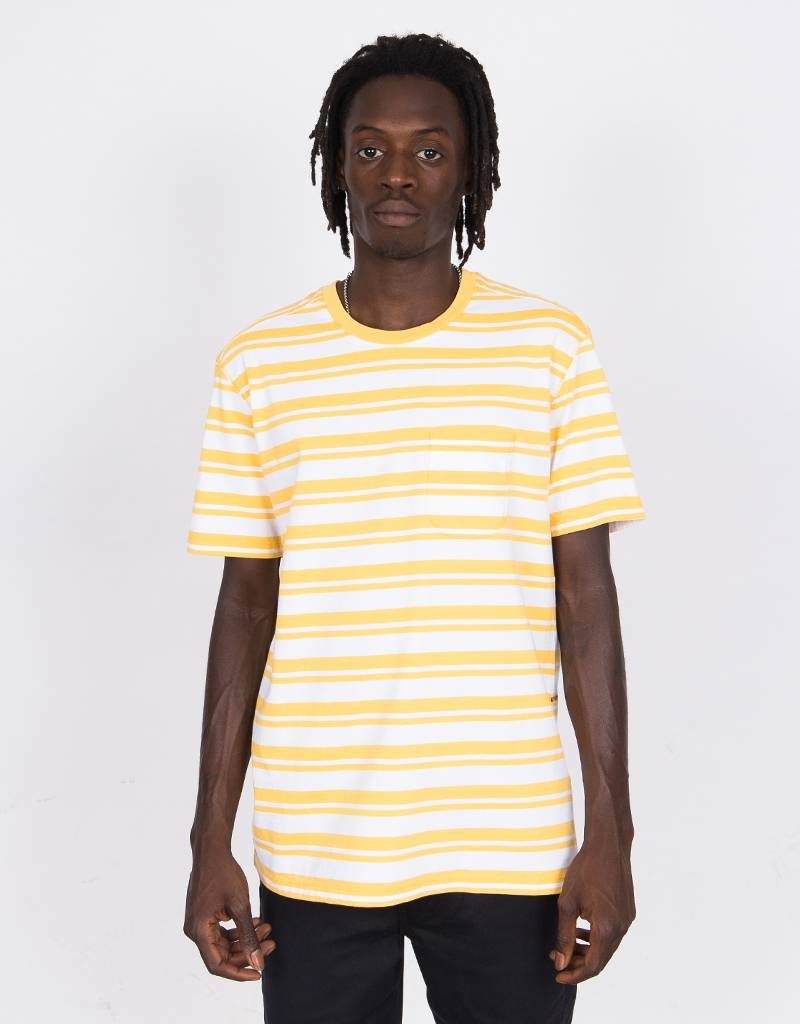 8e27d4b73c078b Pop Trading Company Striped Pocket T-Shirt Yellow White - Lockwood Skateshop