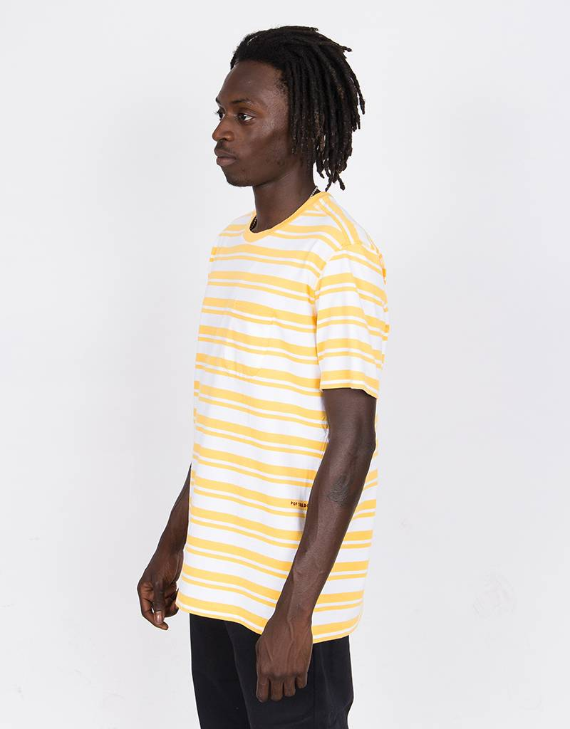 a75dec9e20d832 Pop Trading Company Striped Pocket T-Shirt Yellow White - Lockwood ...