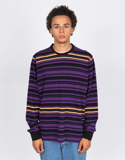 Pop Trading Company Nagel Striped Longsleeve Multicolour Navy
