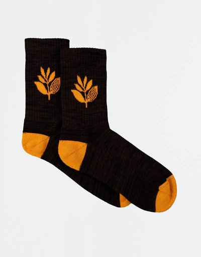 Magenta Plant Socks Black/Orange