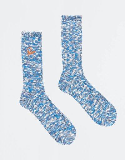 Parra MÌ©lange Crew Socks Blue/Purple/Off White