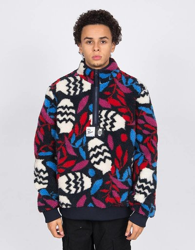 Parra Still Life With Plant Sherpa Fleece Jacket Multi