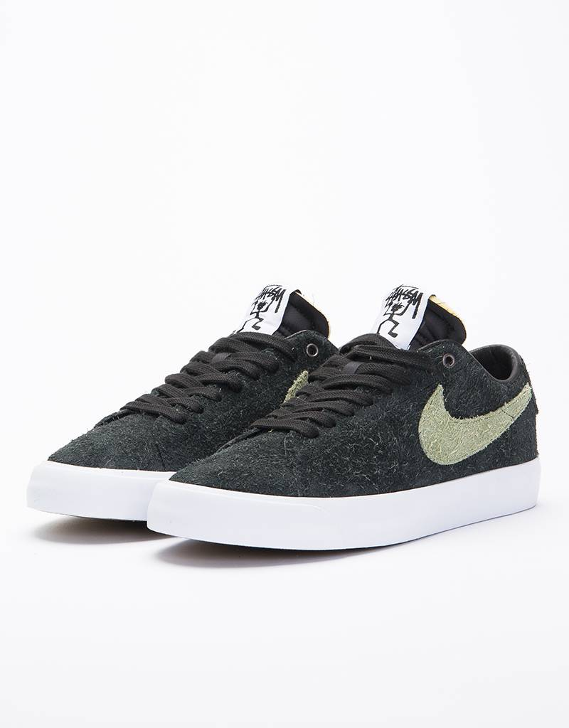 ec73980692f Nike SB X Stussy Zoom Blazer Low QS Black Palm Green - Lockwood Skateshop