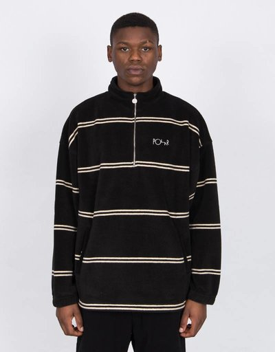 Polar Striped Fleece Pullover Jacket Black