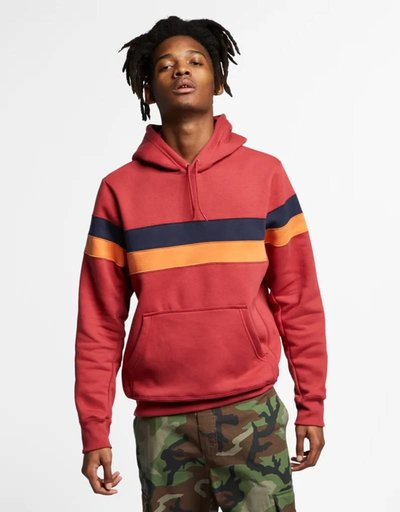 Nike Sb Hoodie Icon Stripes Team crimson/obsidian/cinder orange