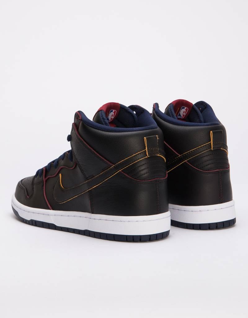 Nike SB Dunk High Pro NBA Black/Black-College Navy-Team Red