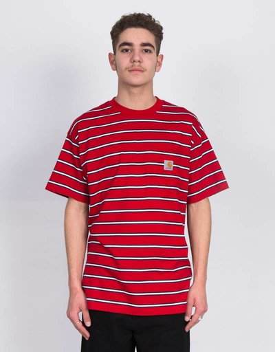 Carhartt S/S Houston Pocket Tee Houston Cardinal Stripe
