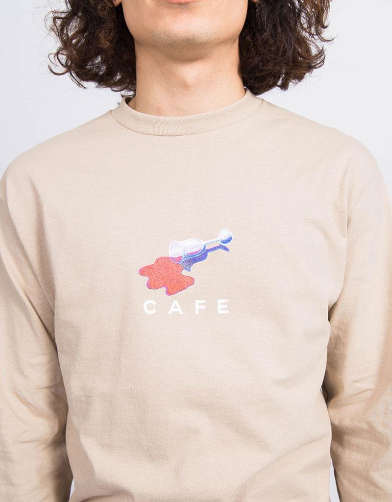 Skateboard Cafe Wine Spill Longsleeve Sand