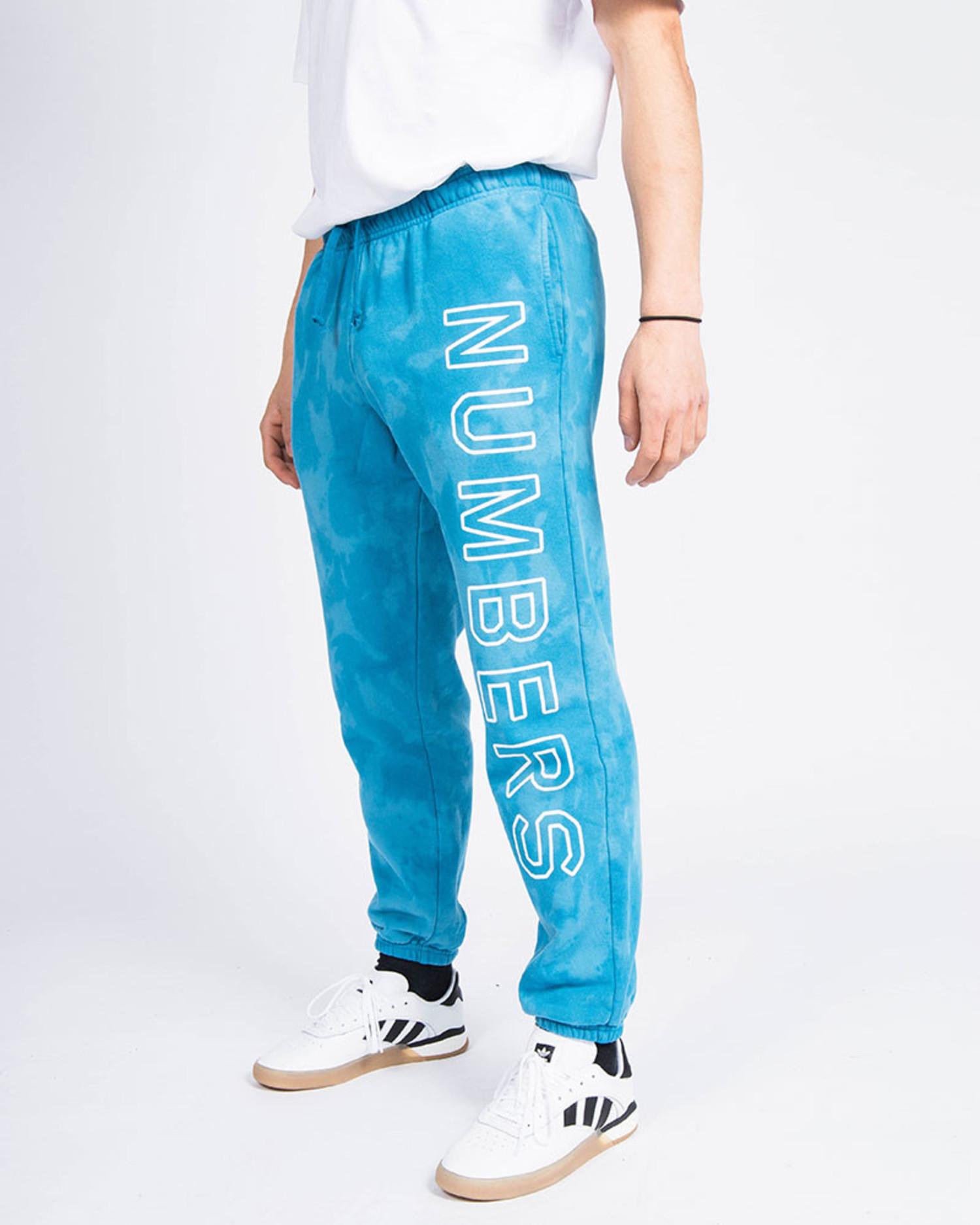 Numbers Outline Wordmark Fleece Bottoms Indigo Tie Dye