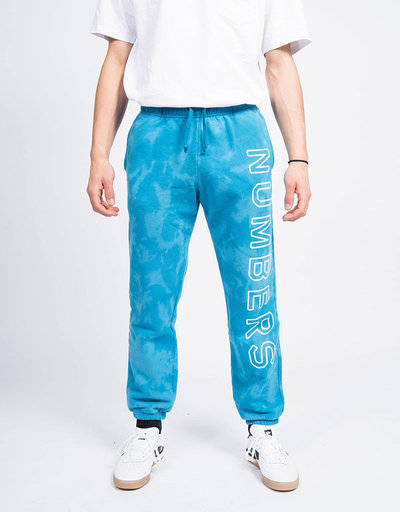 Numbers Outline Wordmark Fleece Bottoms Indigo Tie Dye