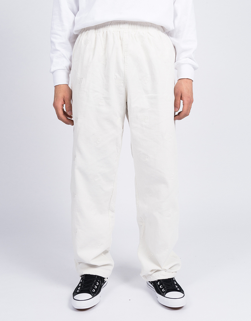 Bronze Allover B Logo Embroidered Corduroy Pants White