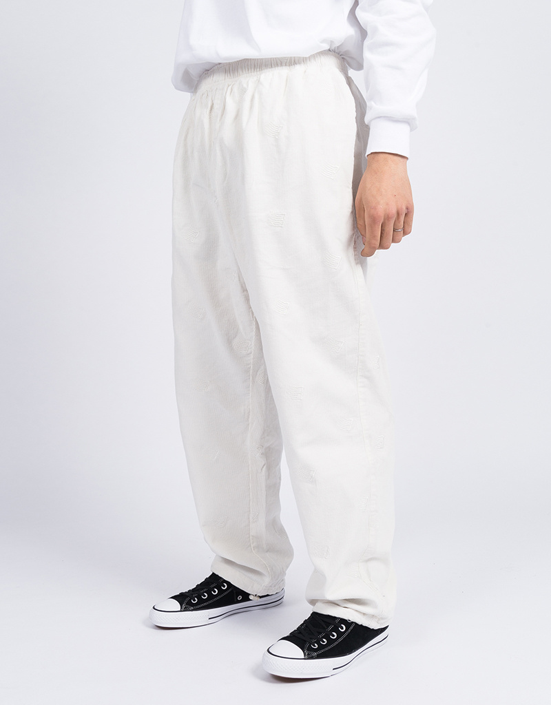 Bronze Allover B Logo Embroidered Corduroy Pants White