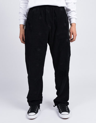 Bronze Allover B Logo Embroidered Corduroy Pants Black