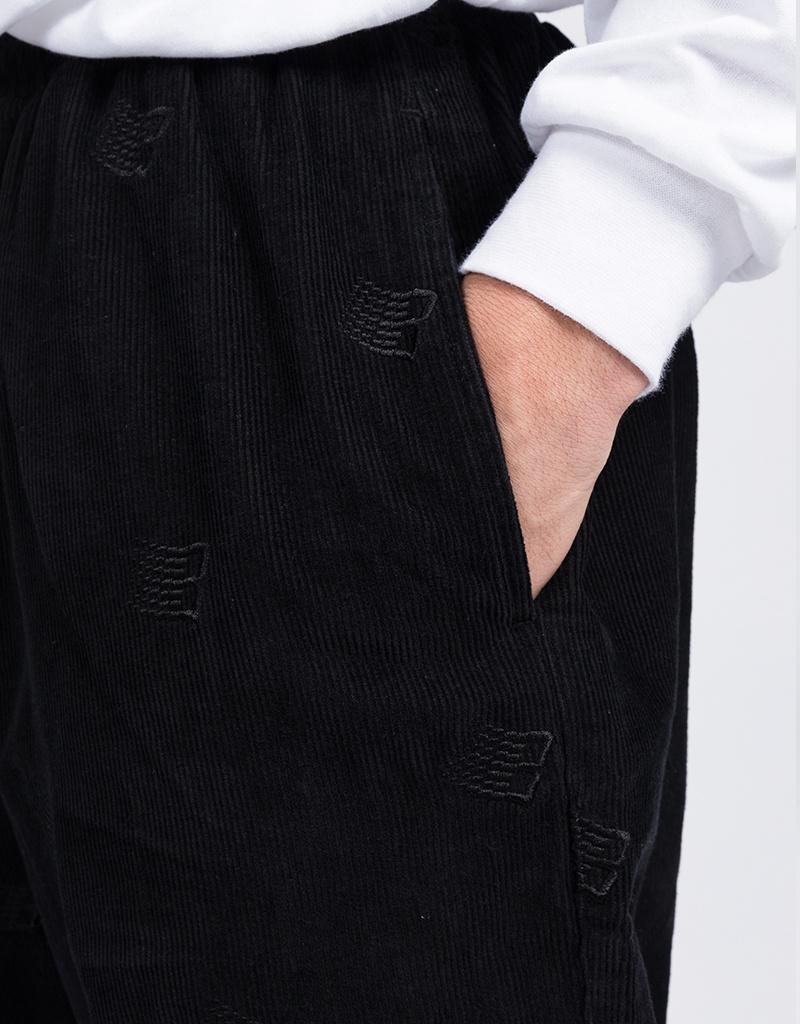 Bronze Allover B Logo Embroidered Corduroy Pants Black