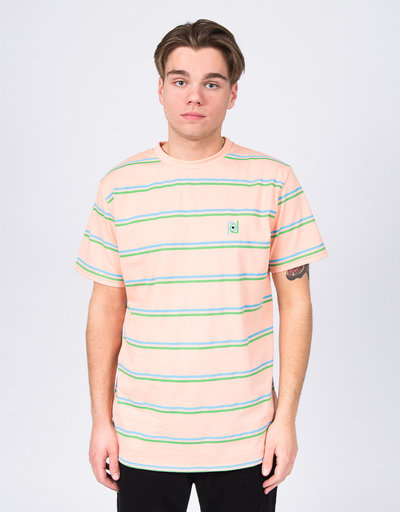 Post Details Striped T-Shirt Peach/Blue/Green