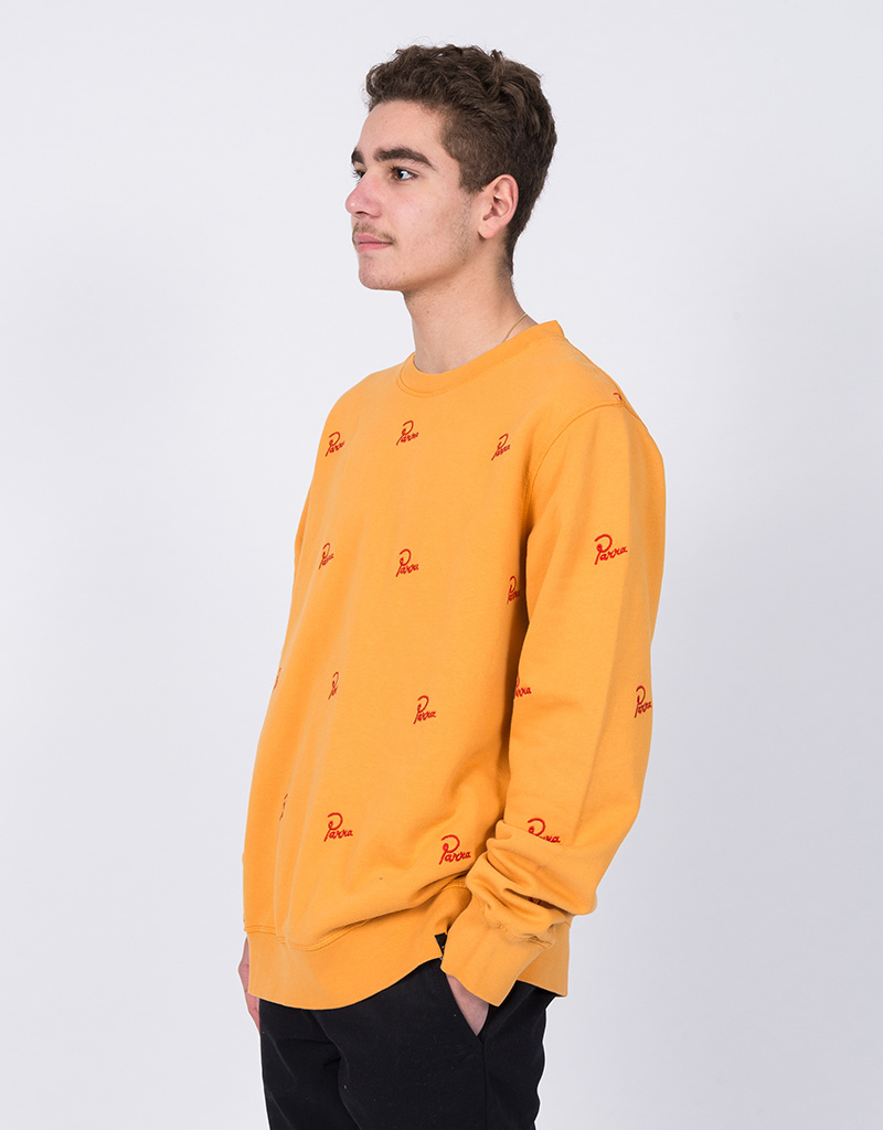 Parra Signature Allover Crewneck Overdyed Gold Yellow