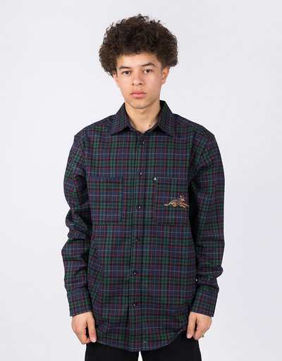 Passport Best Friends Embroidered Flannel Green/Navy