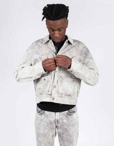 Paccbet Printed Denim Jacket Light Grey