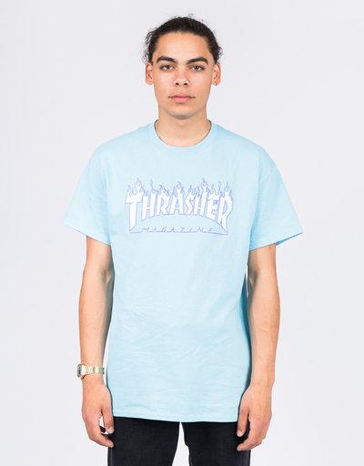 Thrasher Flame  Shortsleeve T-shirt Sky Blue