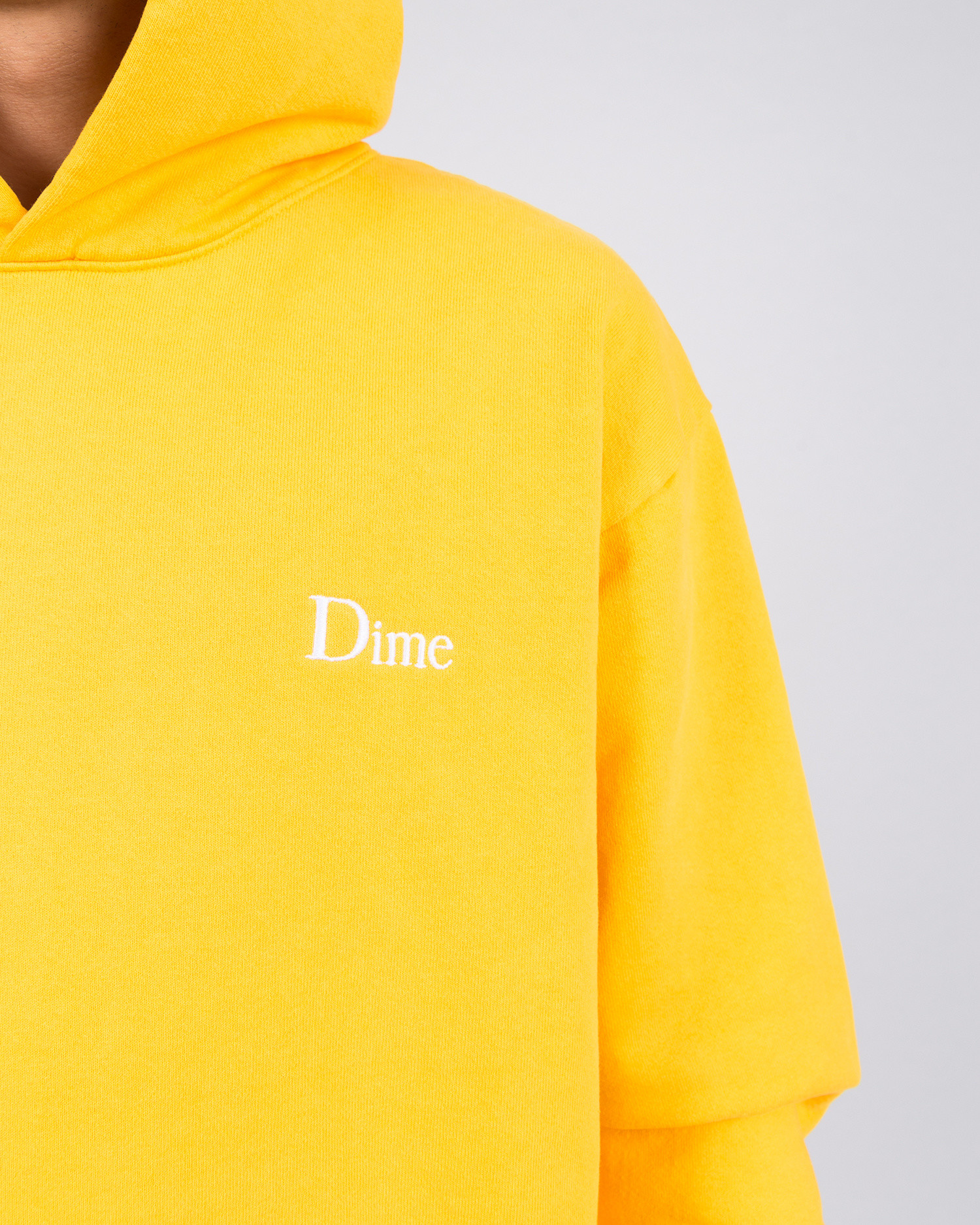Dime Classic Embroidered Hoodie Yellow