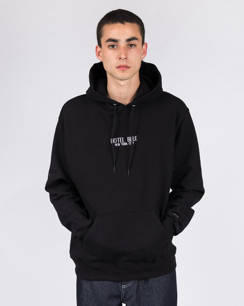 Hotel Blue Hotel Blue Embroidered Logo Champion Hoodie Black
