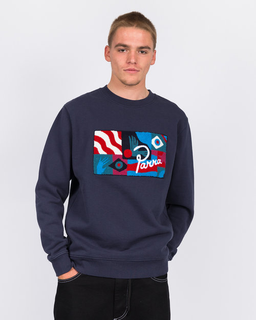 Parra Parra grab the flag crewneck sweater navy blue