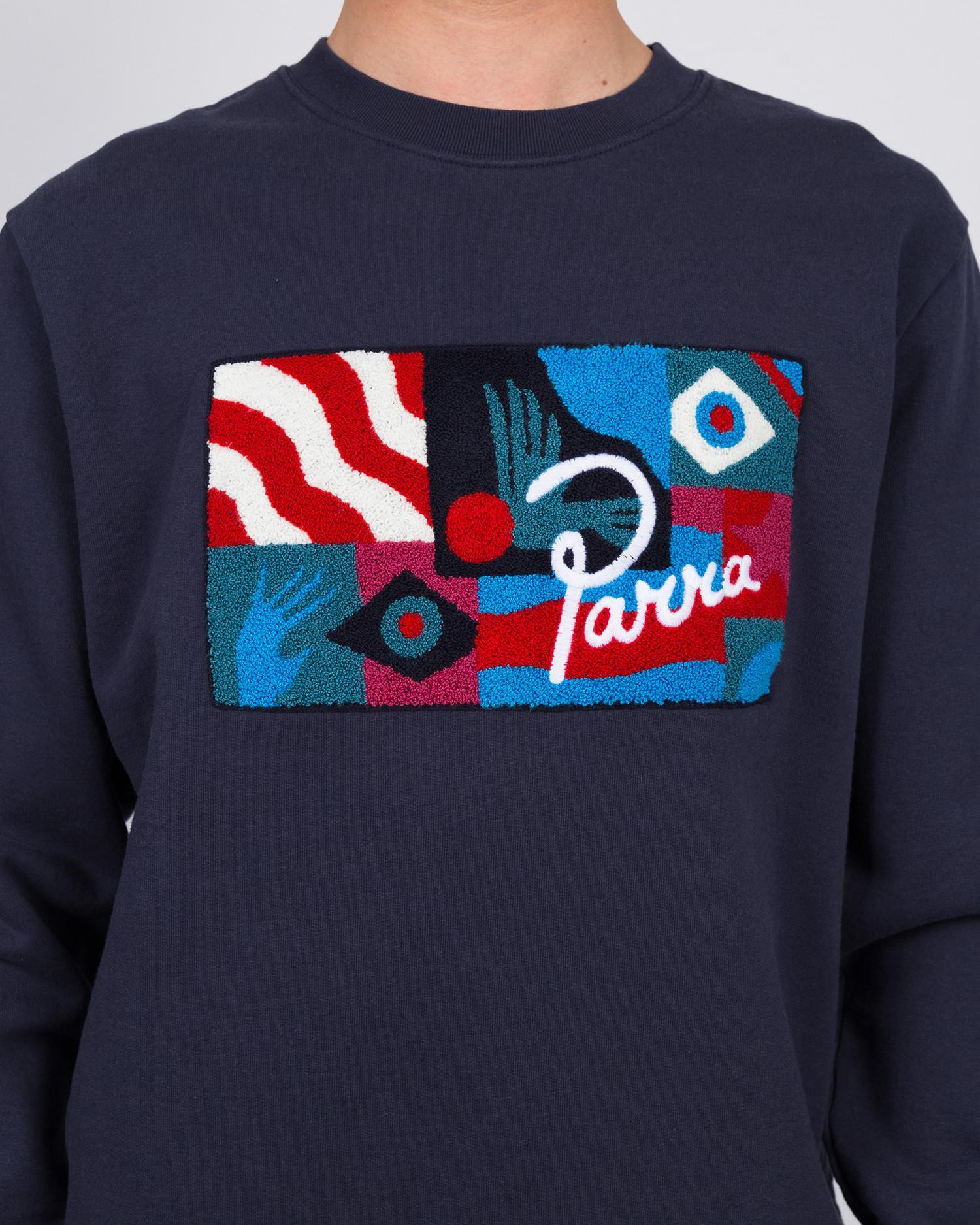 Parra grab the flag crewneck sweater navy blue