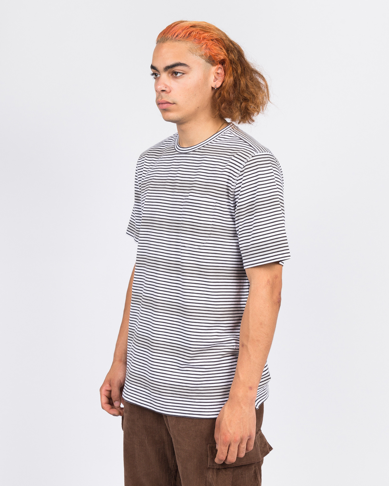 Pop Trading Co harde stripe t-shirt anthracite/white