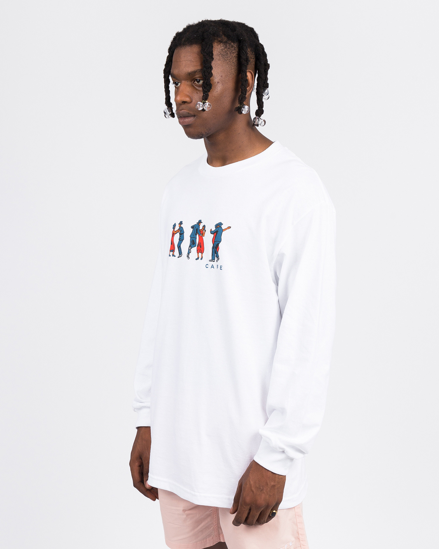 Skateboard Café Dance All Over Longsleeve Tee White