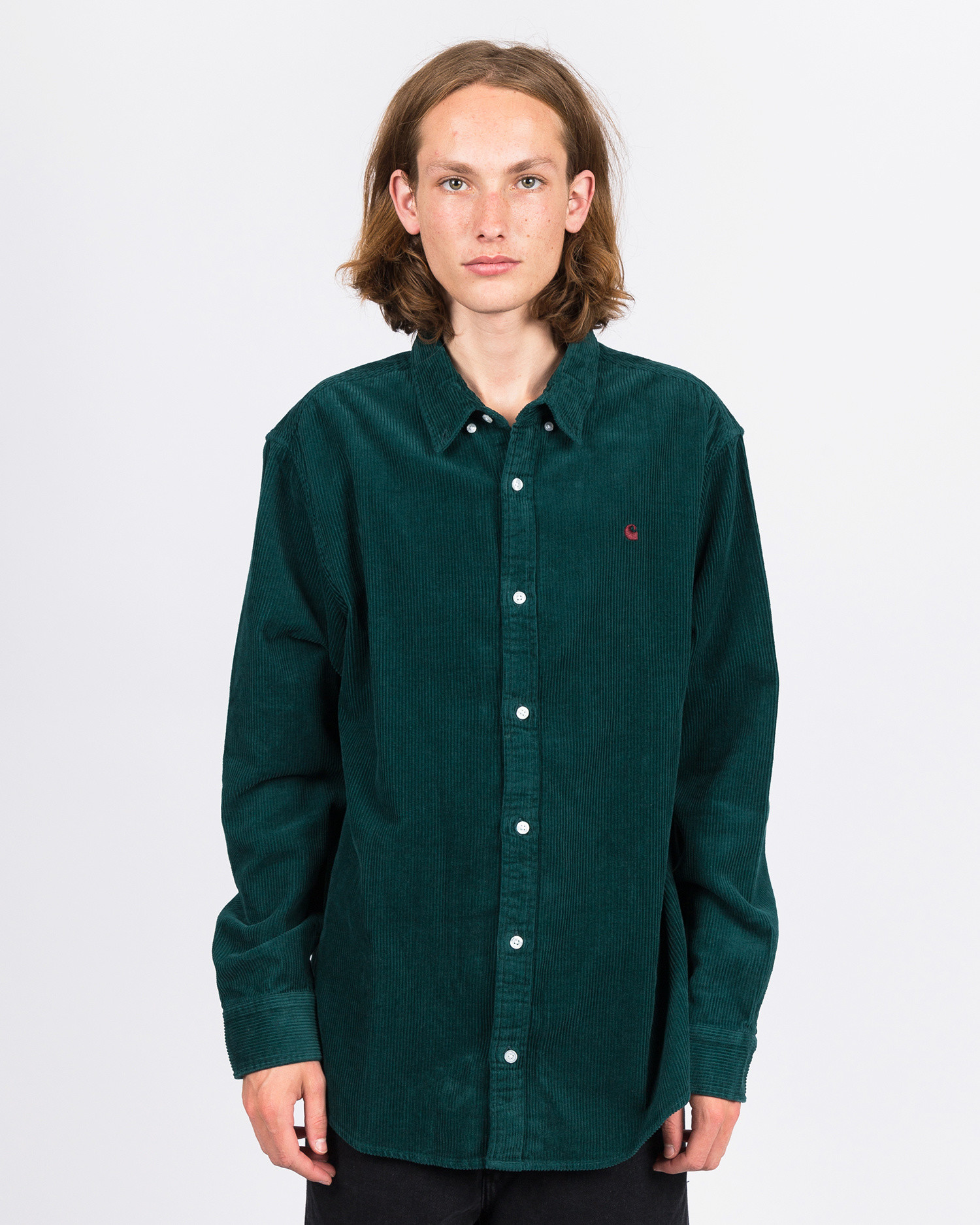 Carhartt Madison Cord Shirt Dark Fir/Merlot