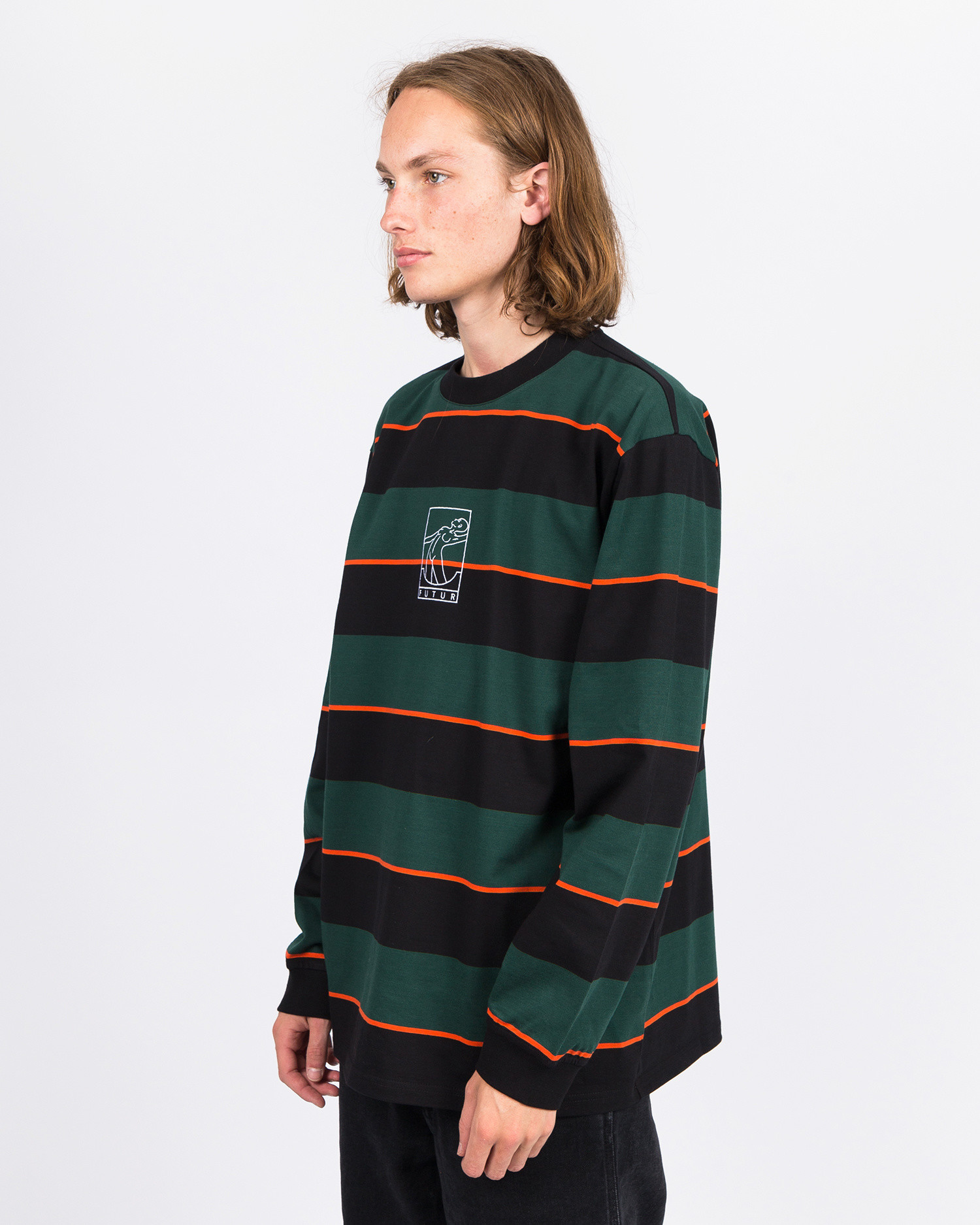Futur G Fit Striped Longsleeve Forest Green