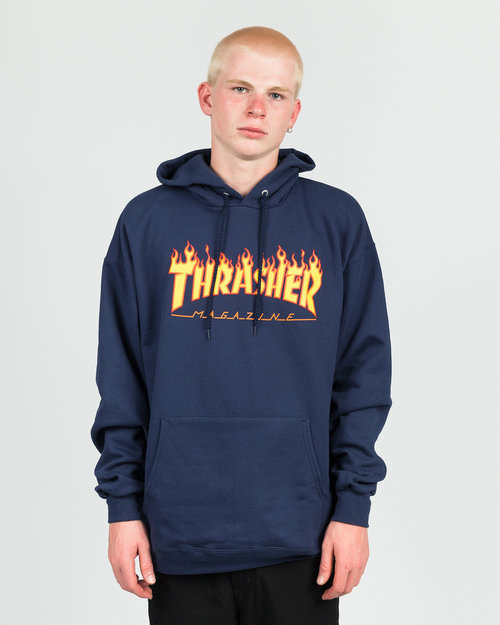 Thrasher Thrasher Flame Hoodie Navy