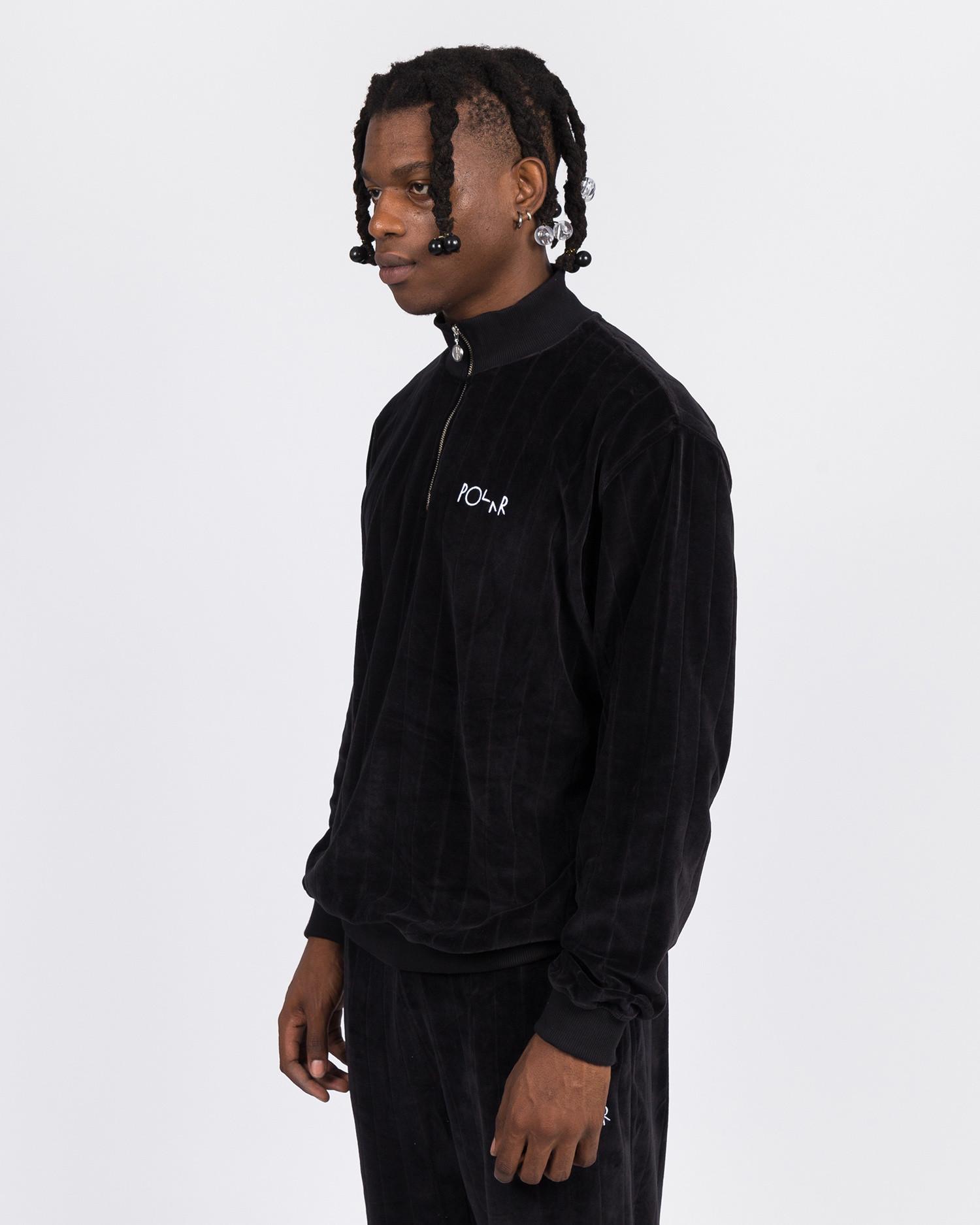 Polar Velour Zip Neck Sweatshirt Black