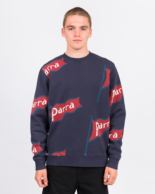 Parra Parra flapping flag crewneck sweater navy blue