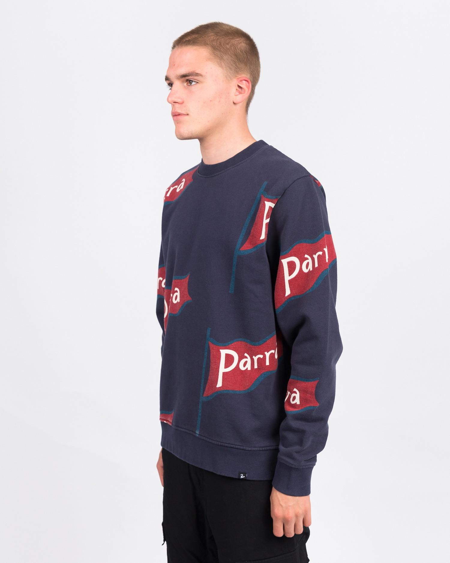 Parra flapping flag crewneck sweater navy blue