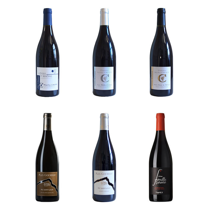 Pakket 6 Franse rode wijnen